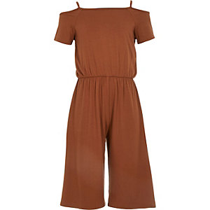Girls brown cold shoulder jumpsuit