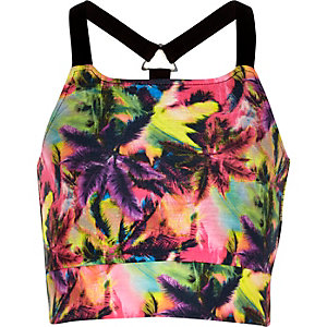 Girls pink tropical print crop top