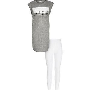 Girls grey la mode t-shirt leggings outfit