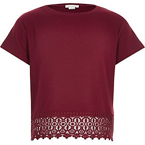 Girls red crochet hem t-shirt