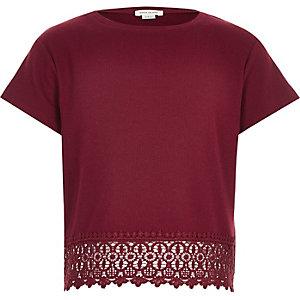 Girls red crochet hem t-shirt