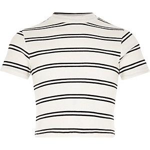 Girls white turtle neck cropped t-shirt