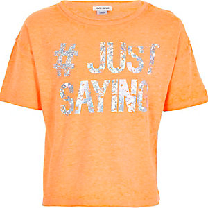 Girls orange #just saying crop t-shirt