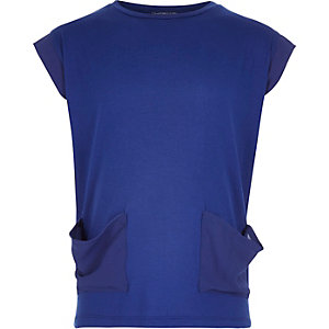 Girls dark blue woven pocket t-shirt