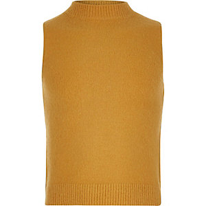 Girls yellow turtle neck sleeveless top