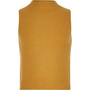 Girls yellow turtle neck sleeveless top