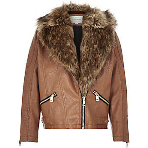 Girls brown leather-look biker jacket