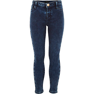Girls marble wash denim jeggings