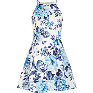 Girls blue floral print fit and flare dress