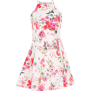 Girls pink floral print fit and flare dress