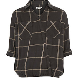 Girls grey check wrap front shirt