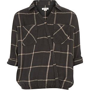 Girls grey check wrap front shirt