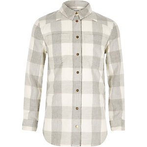 Girls grey check shirt