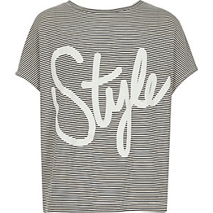 Girls white style print slouchy t-shirt