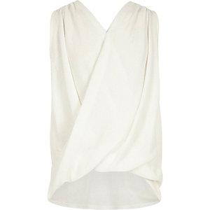 Girls ribbed draped sleeveless top