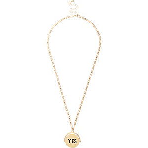 Girls gold tone yes no spin necklace