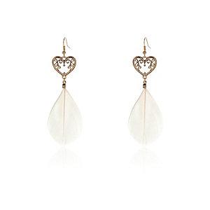 Girls pink heart feather earrings