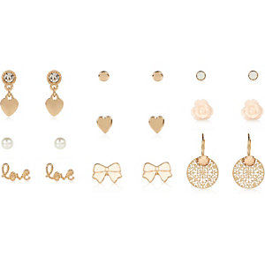 Girls gold tone earrings pack