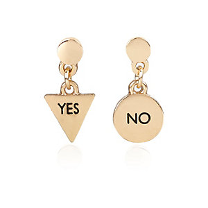 Girls gold tone yes or no earrings