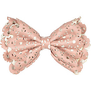 Girls pink laser cut hair bow