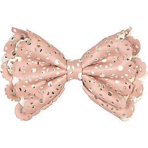Girls pink laser cut hair bow