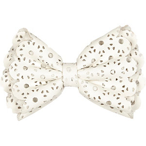 Girls white laser cut hair bow