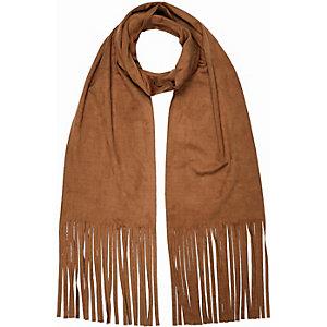 Girls brown faux-suede tassel scarf