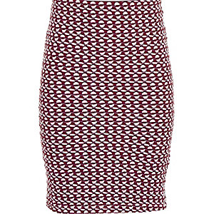 Girls red jacquard pencil skirt