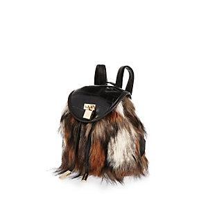 Girls black faux-fur backpack