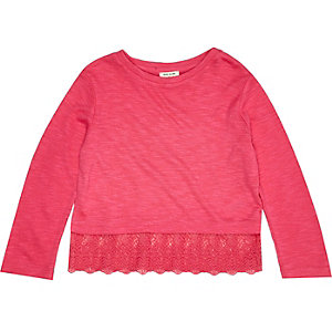 Mini girls pink crochet hem t-shirt