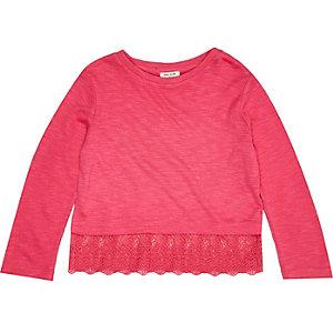 Mini girls pink crochet hem t-shirt