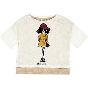 Mini girls white illustrative print t-shirt