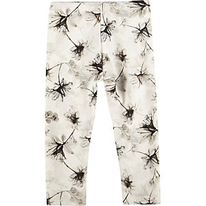 Mini girls grey floral print leggings