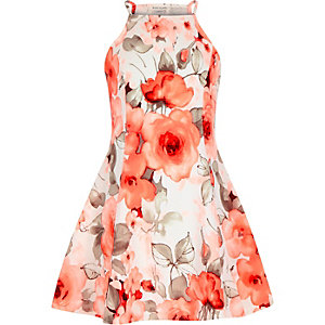 Girls neon coral floral fit and flare dress