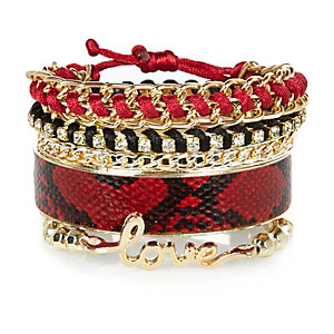 Girls gold tone red bracelets pack
