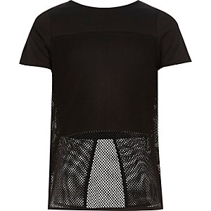 Girls black mesh panel split back t-shirt