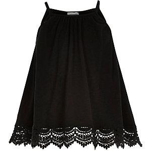 Girls black crochet hem cami