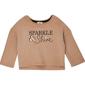 Mini girls camel ribbed slogan sweatshirt