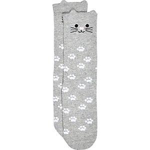 Girls grey novelty cat socks