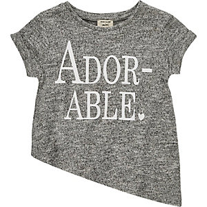 Mini girls grey slogan asymmetric t-shirt