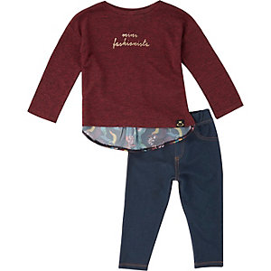 Girls berry red top and leggings outfit