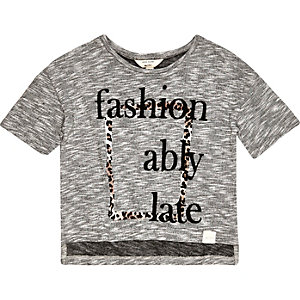 Mini girls grey slogan print t-shirt