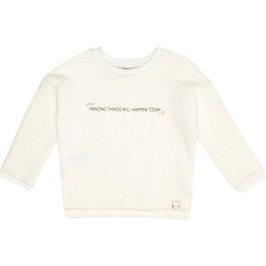 Mini girls white textured slogan sweatshirt