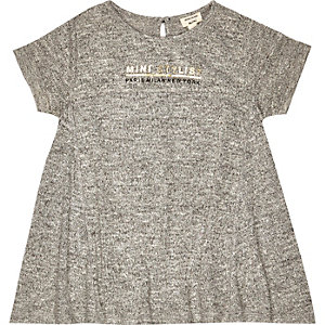 Mini girls grey slogan print dress