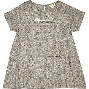 Mini girls grey slogan print dress