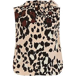 Girls brown animal print top