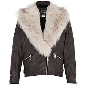 Girls dark brown leather-look biker jacket