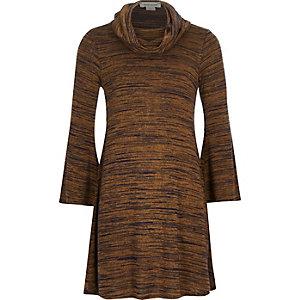Girls brown cowl neck swing dress