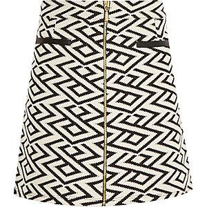 Girls black zig zag A-line skirt