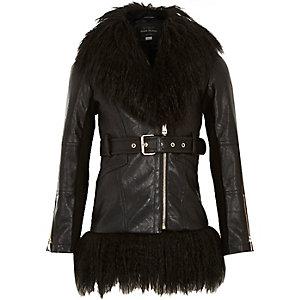 Girls black leather-look jacket